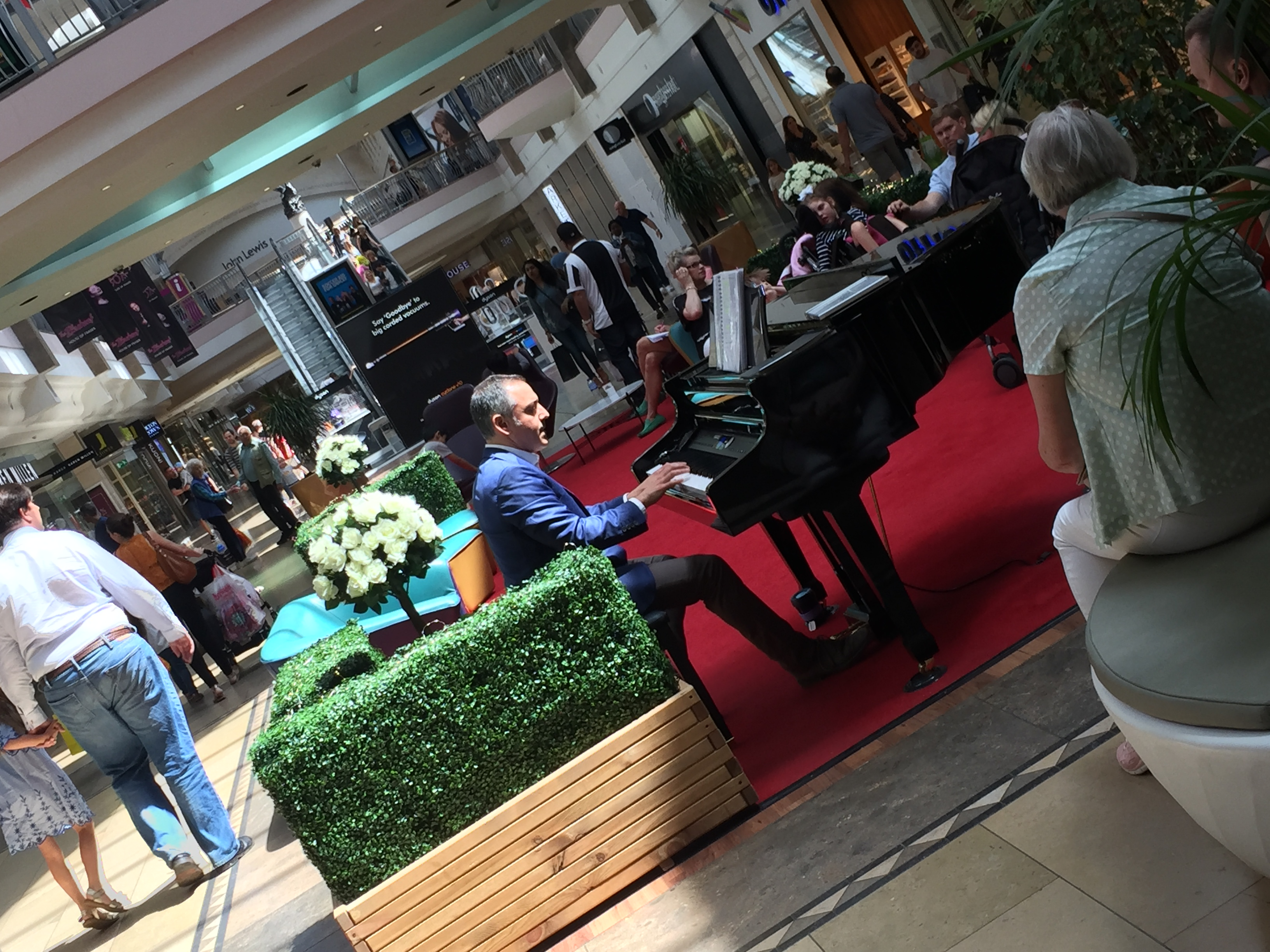 Bryan playing piano at Bluewater in Kent